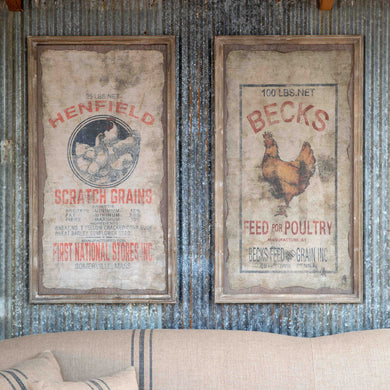 Framed Feed Sack Wall Decor, Set of 2
