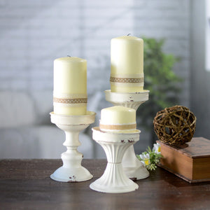 White Metal Candlesticks Set of 3