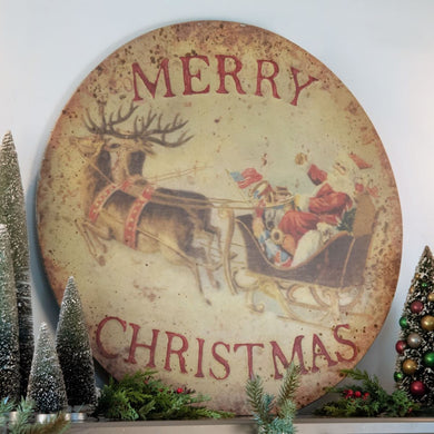 Old World Santa & Sleigh Sign