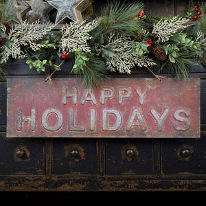 Metal Happy Holidays Sign