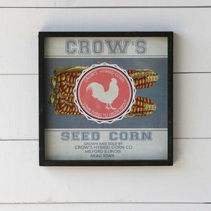 Framed Feedsack Crows Seed Corn
