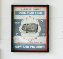 Load image into Gallery viewer, Framed Feedsack Pig Chow