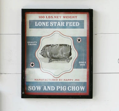 Framed Feedsack Pig Chow