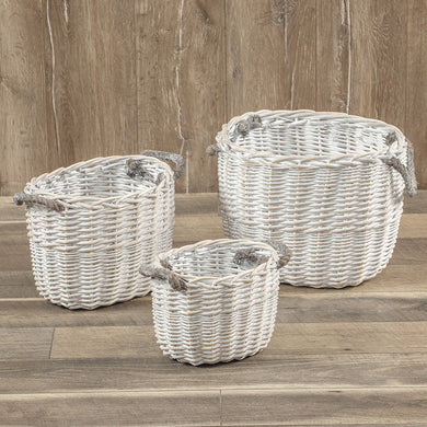 White Oval Baskets, Set of 3