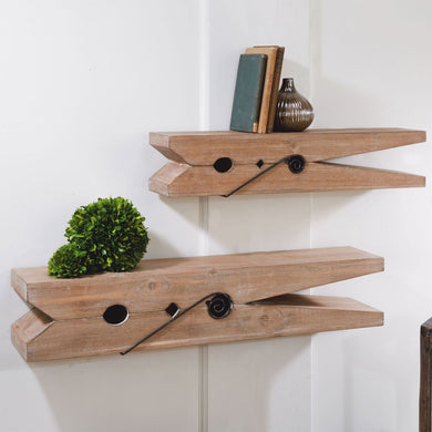 Wooden Clothespin Shelf 30