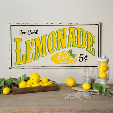 Distressed Metal Lemonade Sign