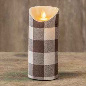 "7"" Brown Check Moving Flame Pillar Candle"