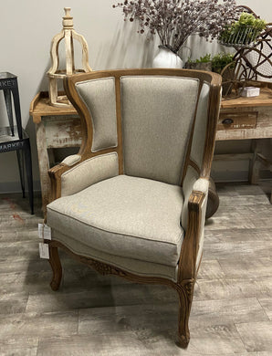 Hand-Carved Wing Back Chair
