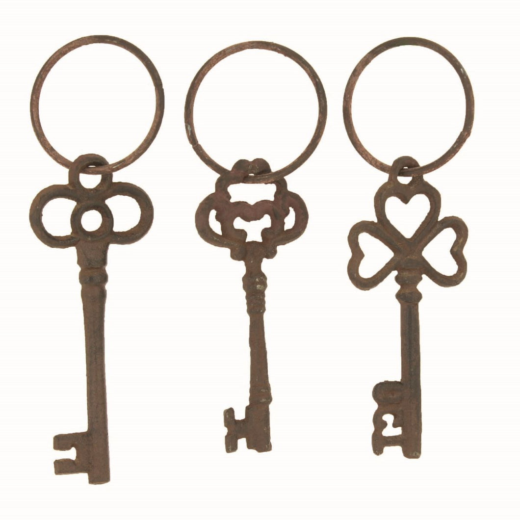 Vintage Cast Iron Keys, Set of 3