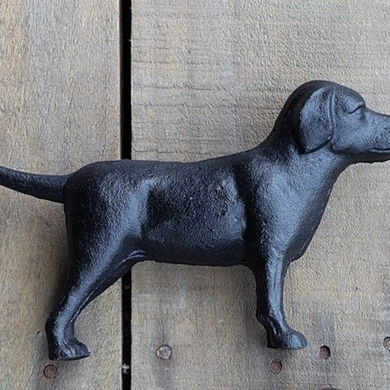 Cast Iron Lab Figurine, Black