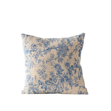 Blue Chambray Toile Square Pillow
