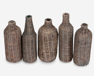 Grey Wash Woven Bottles, Set of 5