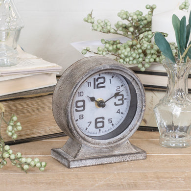 Grey Metal Table Clock