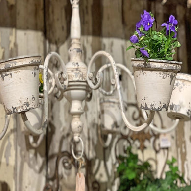 White Chandelier-Style Planter