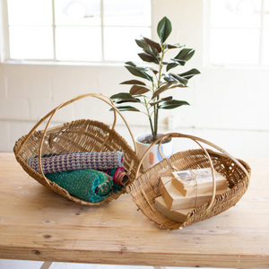Natural Bamboo Scoop Baskets, Set of 2