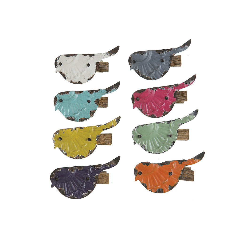 Colorful Bird Clips, Set of 8