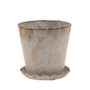 Weathered Planter & Saucer S/2