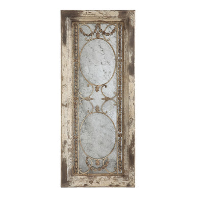 Antiqued Mirror with Wood Frame