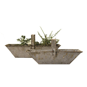 Weathered Metal Handled Trough Baskets