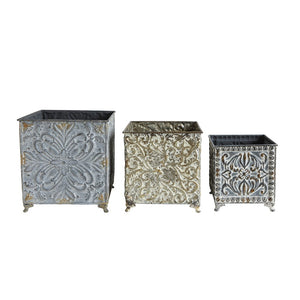 Embossed Footed Metal Planters, Set of 3