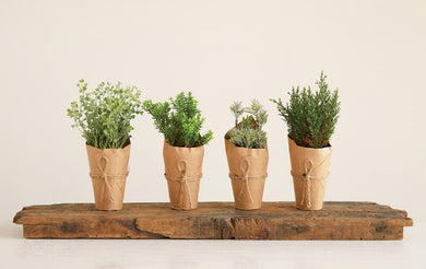Faux Plants in Paper Pots, Set of 4