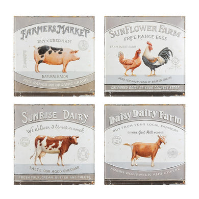 Embossed Metal Farm Animal Wall Décor, Set of 4