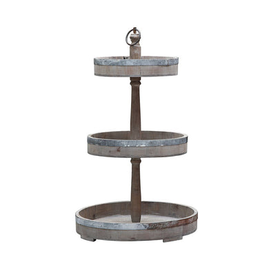 Wood and Metal 3-Tier Tray