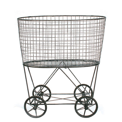 Metal Reproduction Vintage Laundry Basket on Wheels