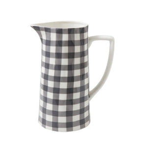 Black Gingham Stoneware Pitcher
