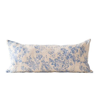 Blue Chambray Toile Long Pillow