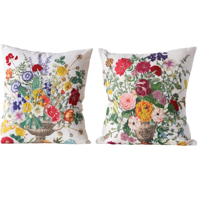 Embroidered Flower Pillows, Set of 2