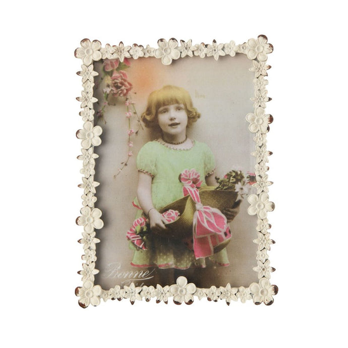 Distressed White Flower Photo Frame