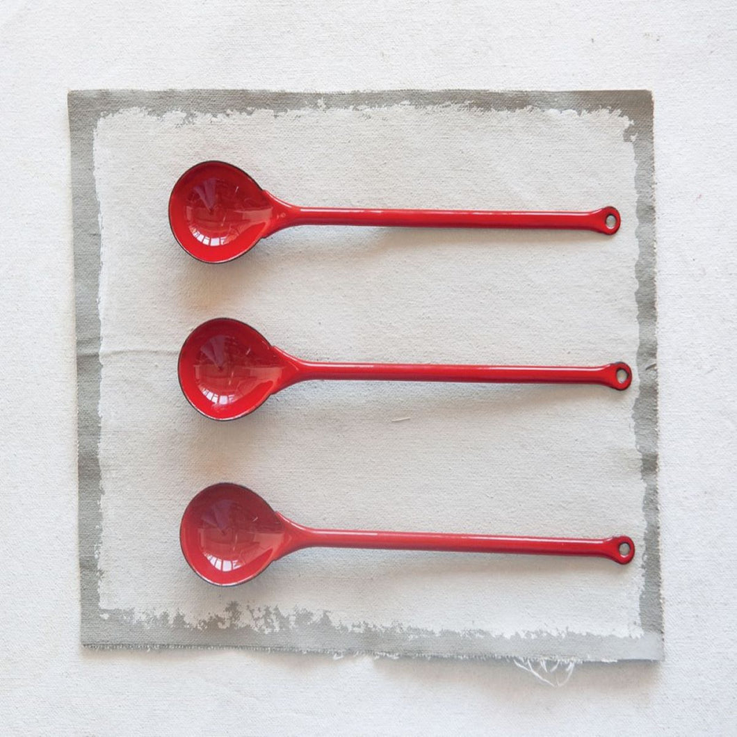 Red Enameled Spoons, Set of 3