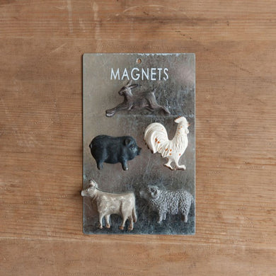 Pewter Farm Animal Magnets, Set of 5
