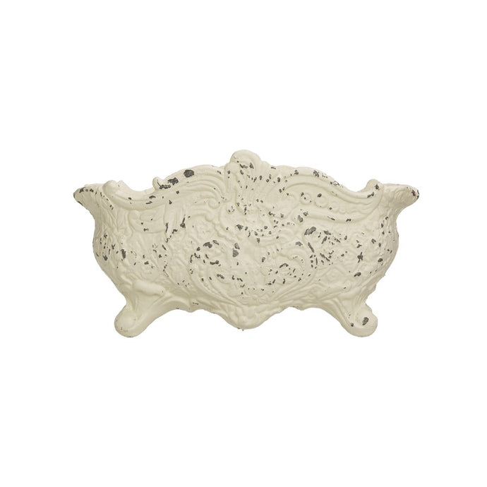 Cast Iron Cachepot, Distressed White