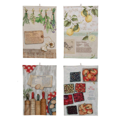 Cotton Dishtowel w/ Recipes, Set of 4