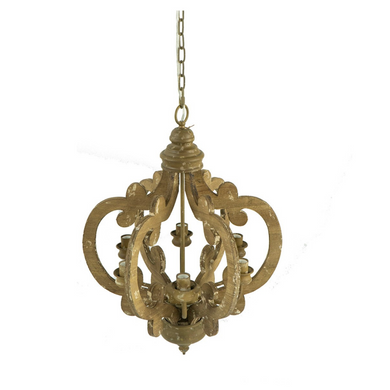 Ornate Wood & Metal Chandelier Natural
