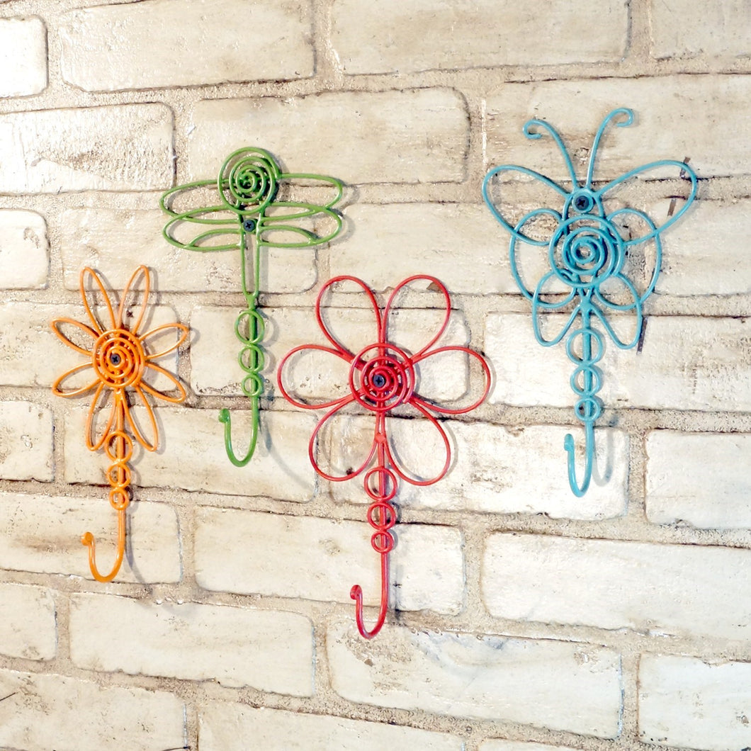 Colorful Nature-Inspired Wire Hooks, Set of 4