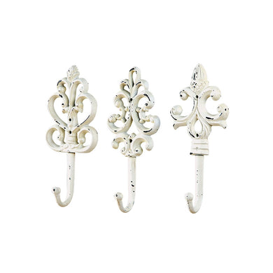 Elegant White Cast Iron Hooks, Set of 3