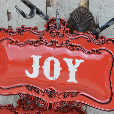 Ornate Embossed Metal Joy Sign