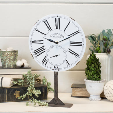 Metal Clock on a Stand, White