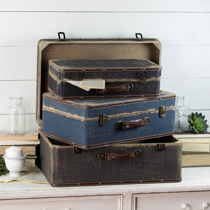Distressed Burlap Suitcases, Set of 3