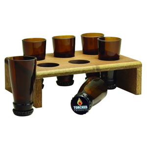 Torched Beer Bottle Shot Glass Set