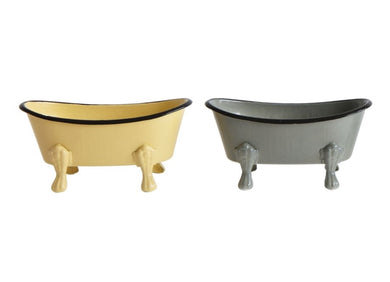Metal Bathtub Soap Dishes, Set of 2 Yellow/Grey
