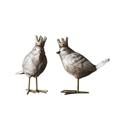 Bird in Crown Figurines, Set of 2