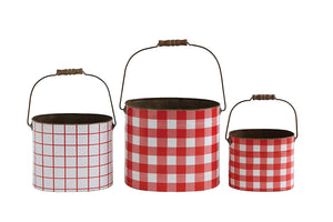 Red Gingham Buckets