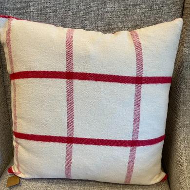 Brushed Cotton Cream Red Stripe Pillow