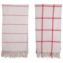 Load image into Gallery viewer, Brushed Cotton Cream & Red Throws