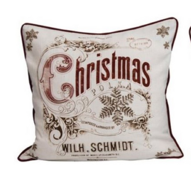 Vintage Christmas Scene Pillow