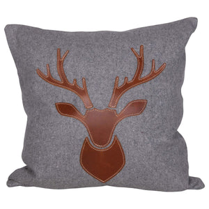 Flannel & Leather Deer Pillow